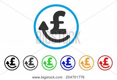 Repay Pound rounded icon. Style is a flat repay pound grey symbol inside light blue circle with black, gray, green, blue, red, orange versions. Vector designed for web and software interfaces.
