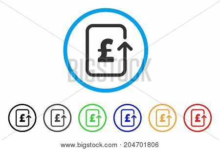 Reverse Pound Transaction rounded icon. Style is a flat reverse pound transaction grey symbol inside light blue circle with black, gray, green, blue, red, orange variants.