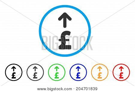 Send Pound rounded icon. Style is a flat send pound gray symbol inside light blue circle with black, gray, green, blue, red, orange variants. Vector designed for web and software interfaces.