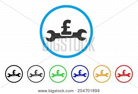 Service Pound Cost rounded icon. Style is a flat service pound cost gray symbol inside light blue circle with black, gray, green, blue, red, orange versions.