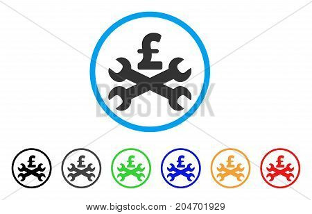 Service Pound Price rounded icon. Style is a flat service pound price gray symbol inside light blue circle with black, gray, green, blue, red, orange variants.