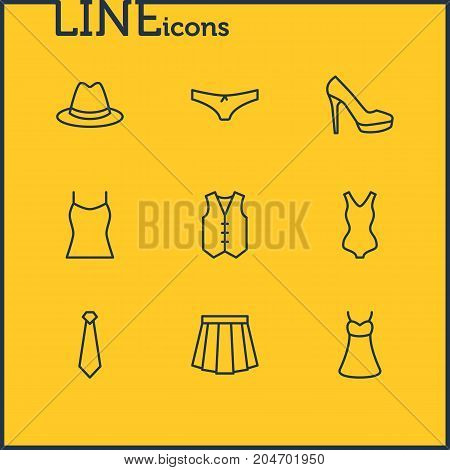 Editable Pack Of Singlet, Panties, Waistcoat And Other Elements.  Vector Illustration Of 9 Garment Icons.