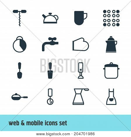 Editable Pack Of Smock, Teakettle, Oven Mitts And Other Elements.  Vector Illustration Of 16 Kitchenware Icons.