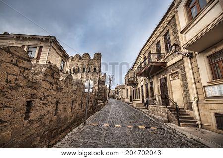 Empty Street In Old City Of Baku, Azerbaijan. Old City Baku. İnner City Buildings.