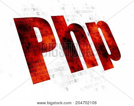 Database concept: Pixelated red text Php on Digital background