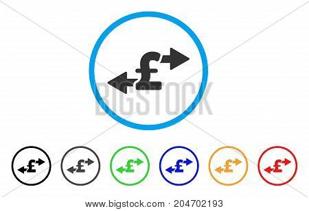 Spend Pound Money rounded icon. Style is a flat spend pound money gray symbol inside light blue circle with black, gray, green, blue, red, orange color versions.