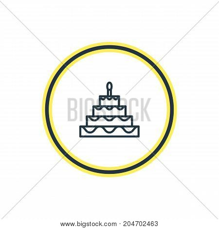 Beautiful Feast Element Also Can Be Used As Patisserie Element.  Vector Illustration Of Birthday Cake Outline.