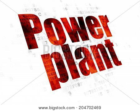 Manufacuring concept: Pixelated red text Power Plant on Digital background