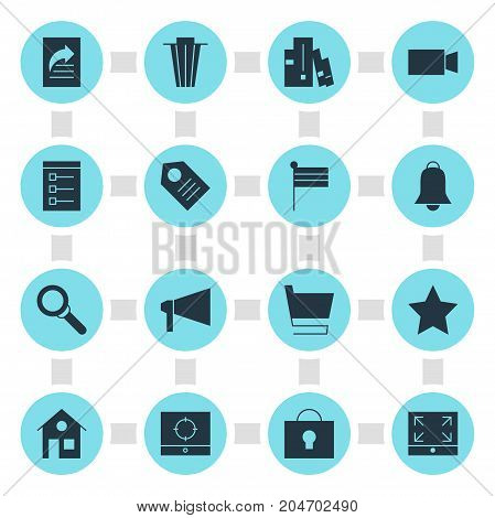Editable Pack Of Trash, Notification, Magnifier And Other Elements.  Vector Illustration Of 16 Web Icons.