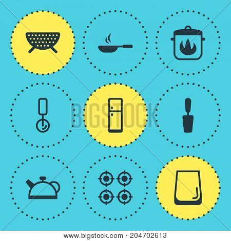 Editable Pack Of Sieve, Stewpot, Frying Pan And Other Elements.  Vector Illustration Of 9 Kitchenware Icons.