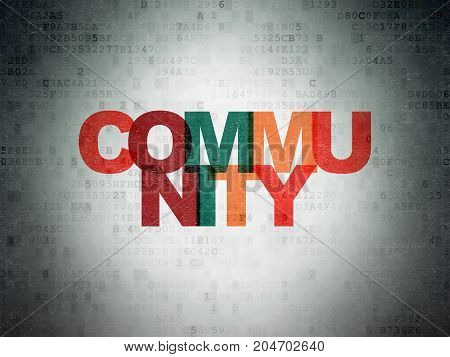 Social network concept: Painted multicolor text Community on Digital Data Paper background