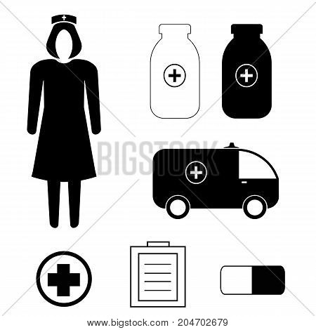 vector set with medicine icons - nurse, ambulance, pill, prescription, cross, bottles