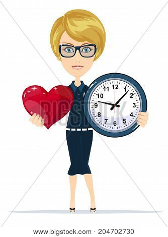 time to love - clock and red heart. Stock flat vector illustration.