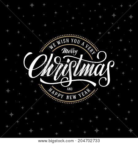 Merry Christmas. Happy New Year. Vector emblem, text design. Usable for banners, greeting cards, gifts etc