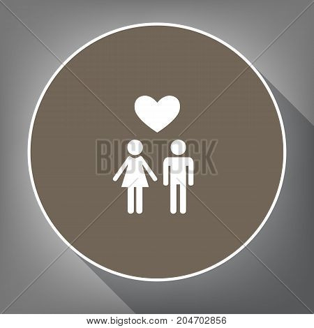 Family symbol with heart. Husband and wife are kept each other's hands. Love. Vector. White icon on brown circle with white contour and long shadow at gray background. Like top view on postament.