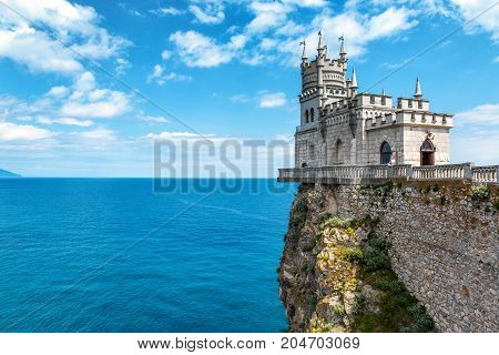 The castle Swallow's Nest on the rock over the Black Sea in Crimea, Russia. This castle is a symbol of Crimea.
