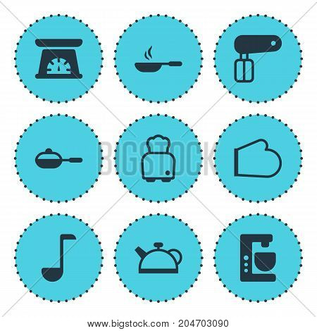 Editable Pack Of Oven Mitts, Soup Spoon, Mixer And Other Elements.  Vector Illustration Of 9 Cooking Icons.