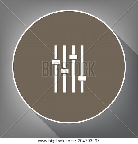 Adjustment music line sign. Vector. White icon on brown circle with white contour and long shadow at gray background. Like top view on postament.