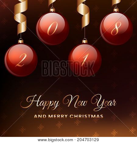 Happy New Year. Red christmas balls with ribbon hanging. Vector illustration.