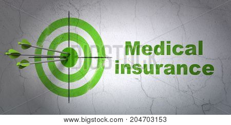 Success Insurance concept: arrows hitting the center of target, Green Medical Insurance on wall background, 3D rendering