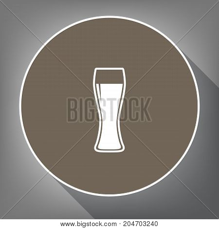 Beer glass sign. Vector. White icon on brown circle with white contour and long shadow at gray background. Like top view on postament.