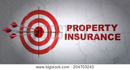 Success Insurance concept: arrows hitting the center of target, Red Property Insurance on wall background, 3D rendering