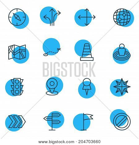Editable Pack Of Pennant, Caution, Compass And Other Elements.  Vector Illustration Of 16 Direction Icons.