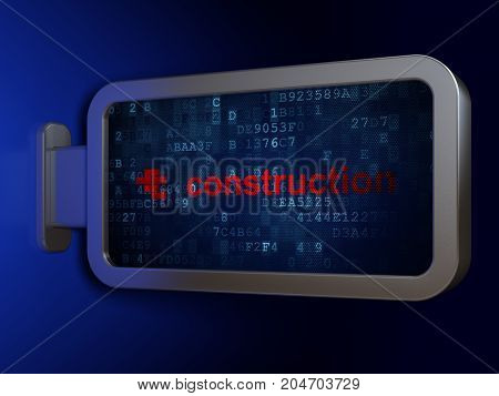 Construction concept: Construction and Bricks on advertising billboard background, 3D rendering