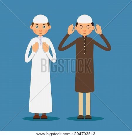 Muslim praying. Two Muslim men stand and pray. The performance of Muslim prayer by men with raised hands. Illustration in flat style. Isolated