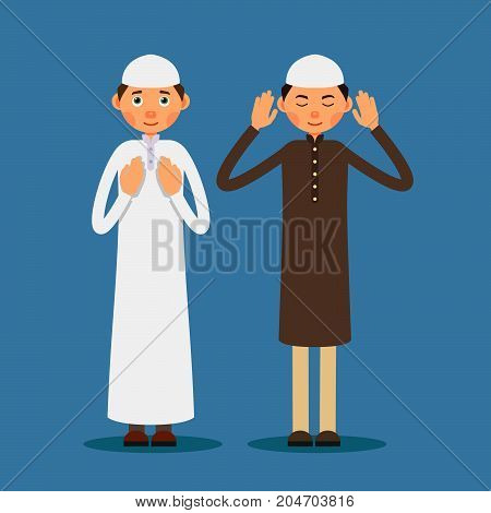 Muslim praying. Two Muslim men stand and pray. The performance of Muslim prayer by men with raised hands. Illustration in flat style. Isolated. Vector.