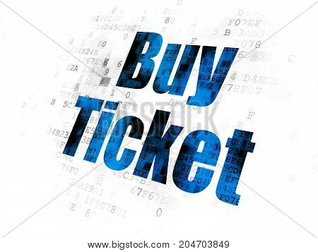 Travel concept: Pixelated blue text Buy Ticket on Digital background