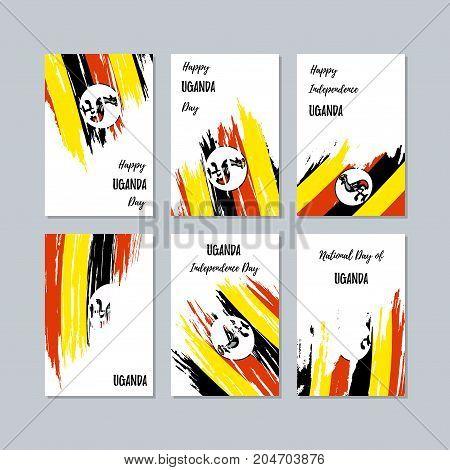 Uganda Patriotic Cards For National Day. Expressive Brush Stroke In National Flag Colors On White Ca