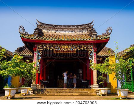 HOIAN, VIETNAM, SEPTEMBER, 04 2017: Beautiful view of an ancient gorgeous temple at hoian, in a sunny day in Vietnam.