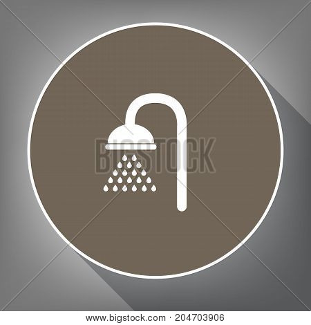 Shower sign. Vector. White icon on brown circle with white contour and long shadow at gray background. Like top view on postament.