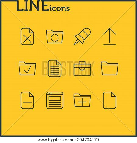 Editable Pack Of Blank, Remove, Minus And Other Elements.  Vector Illustration Of 12 Office Icons.