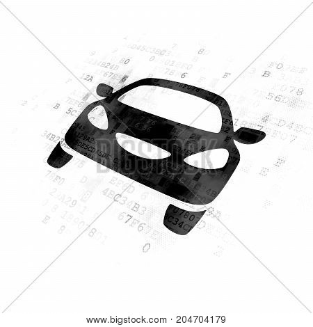 Travel concept: Pixelated black Car icon on Digital background