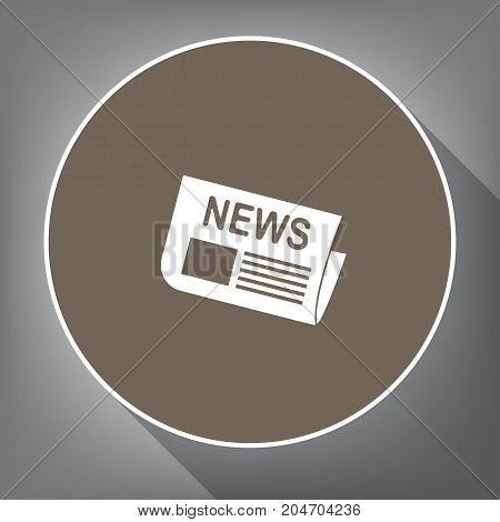 Newspaper sign. Vector. White icon on brown circle with white contour and long shadow at gray background. Like top view on postament.