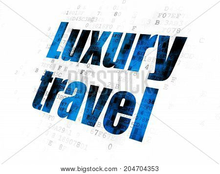 Tourism concept: Pixelated blue text Luxury Travel on Digital background