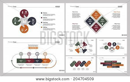 Infographic design set can be used for workflow layout, diagram, annual report, presentation, web design. Business and management concept with process and bar charts.