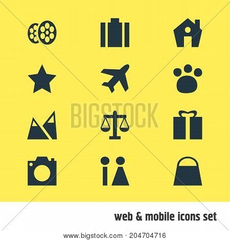 Editable Pack Of Photo Device, Scales, Landscape Elements.  Vector Illustration Of 12 Location Icons.