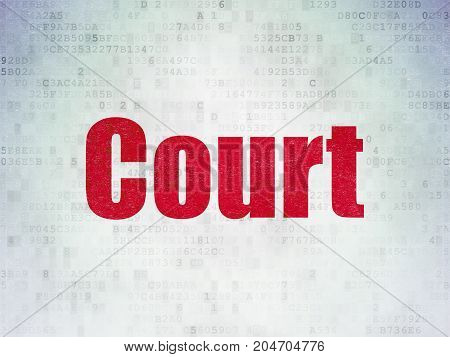 Law concept: Painted red word Court on Digital Data Paper background