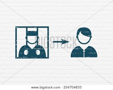 Law concept: Painted blue Criminal Freed icon on White Brick wall background
