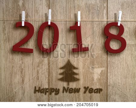 2018 - red numbers of cloth hanging on a rope waiting for the new year - 3D illustration