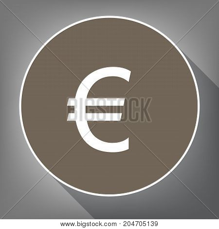 Euro sign. Vector. White icon on brown circle with white contour and long shadow at gray background. Like top view on postament.