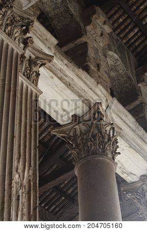 Beautiful Old Marble Column Of Pantheon Historic Italy Temple Of Gods In Day Light. Closeup