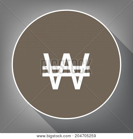 Won sign. Vector. White icon on brown circle with white contour and long shadow at gray background. Like top view on postament.