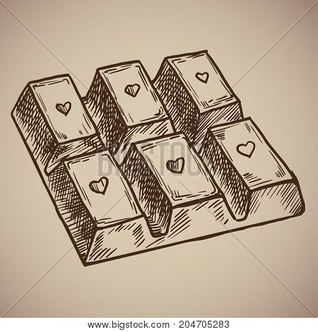 Engraving chocolate bar. Delicious and sweet chocolate with a heart on each cell. Engraving menu for the restaurant. Vector illustration. EPS 10.
