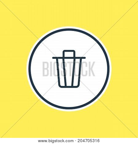 Beautiful App Element Also Can Be Used As Garbage Container Element.  Vector Illustration Of Trash Can Outline.