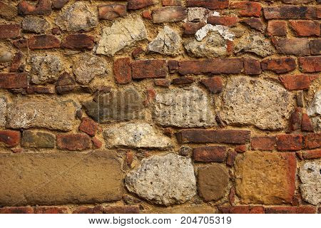 European Unusual Historic Detailed Red Yellow Brick Vintage Wall Of Old House Background