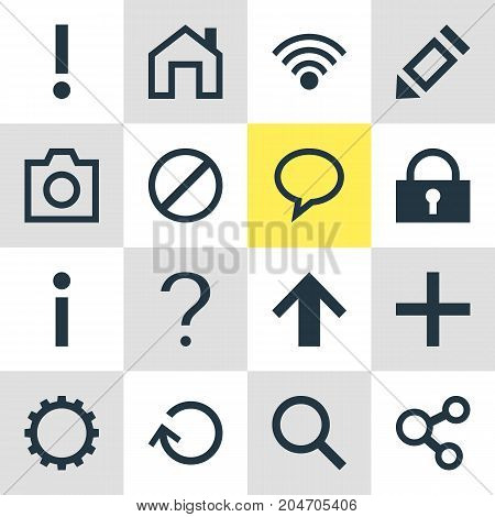 Editable Pack Of Talk Bubble, Plus, Alert And Other Elements.  Vector Illustration Of 16 Member Icons.